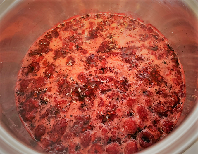 The ingredients simmeing for our Raspberry Puree