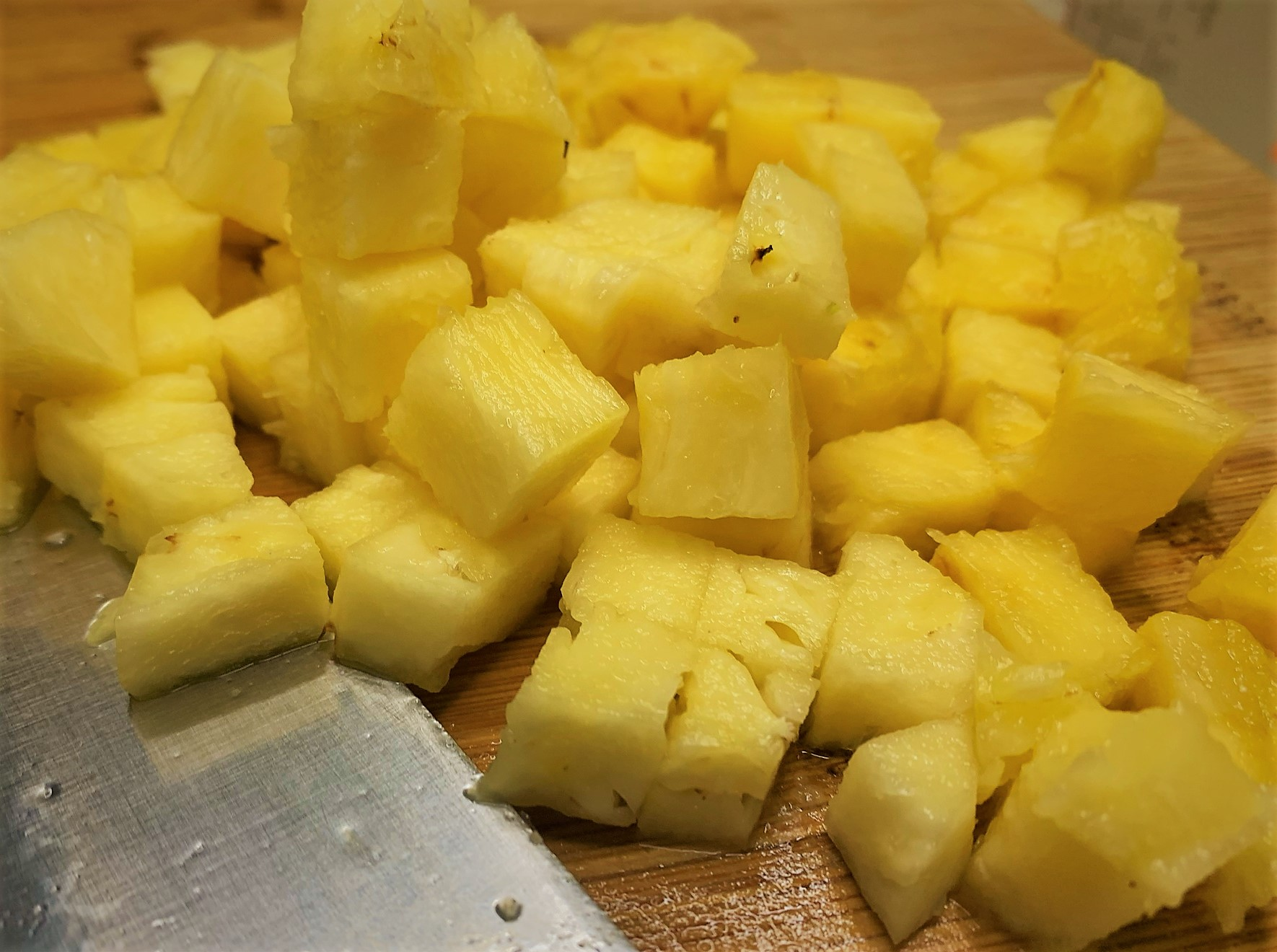 The Diced Fresh Pineapple ready to go in the freezer