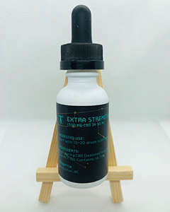 Back label of Synaptix cbd tincture with a strength of 1000mg.