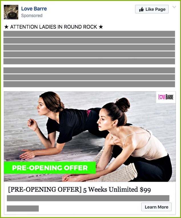 Love Barre Presale ad