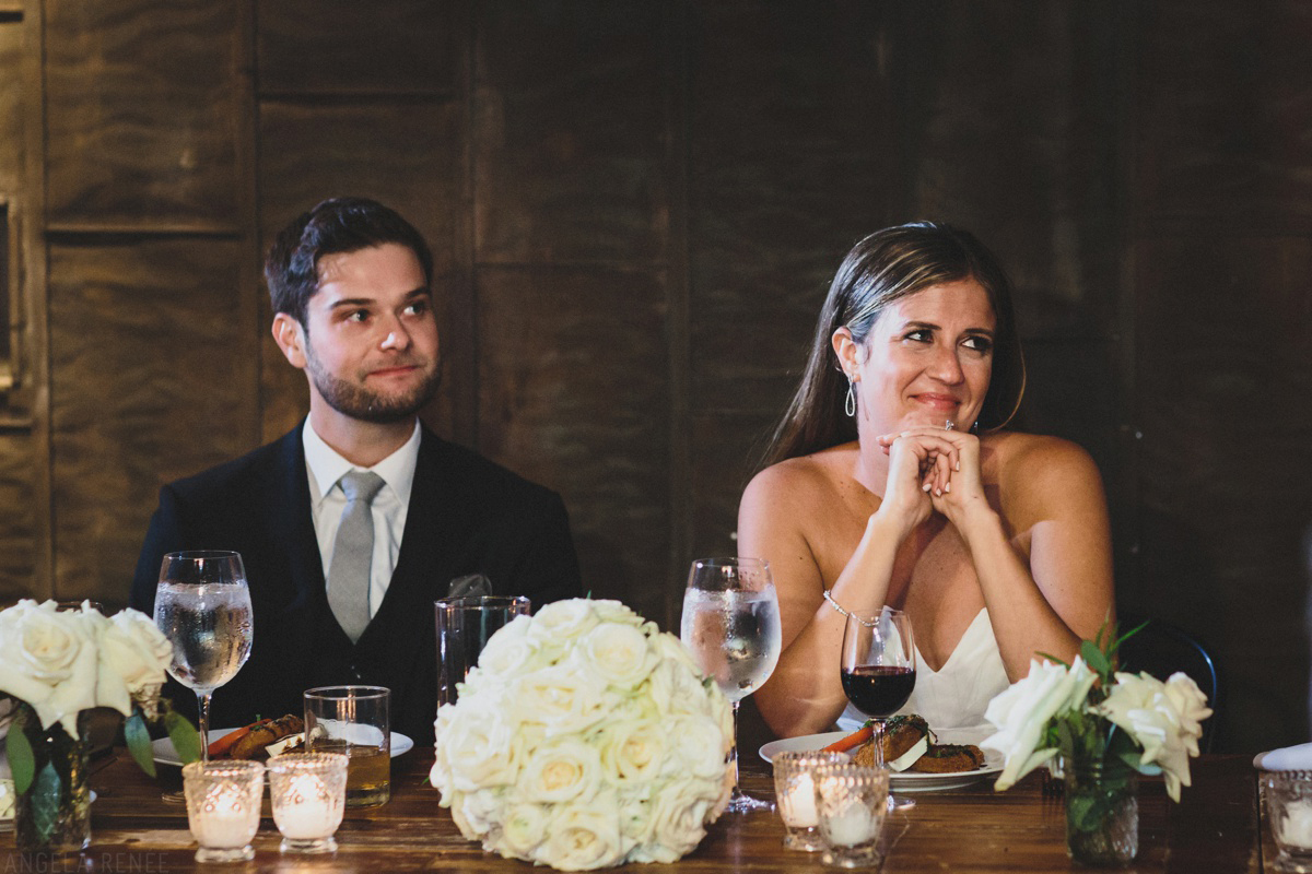 bride and groom toasts reaction