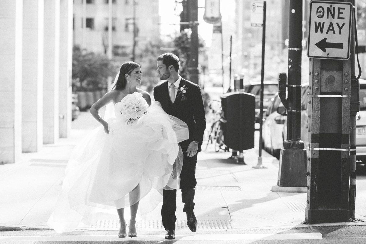 black and white wedding day photo
