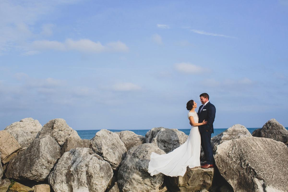 chicago lakefront wedding photo