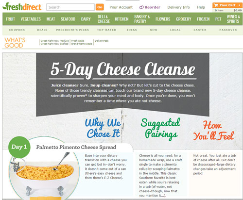 Fresh Direct Cheese Cleanse
