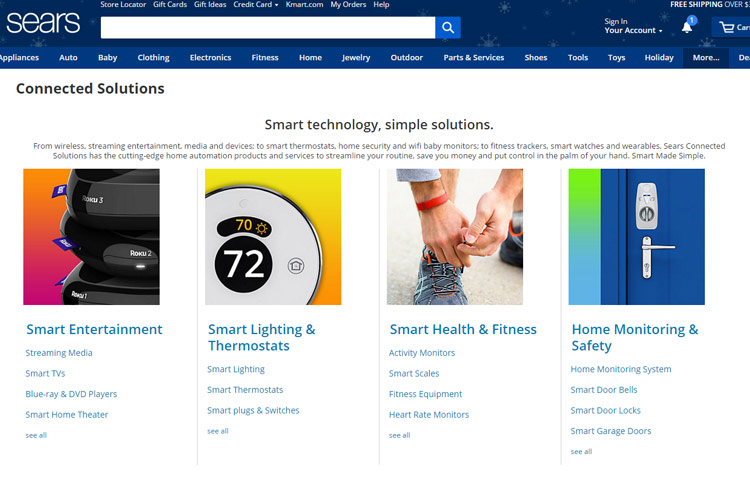 Sears Connected Solutions Website