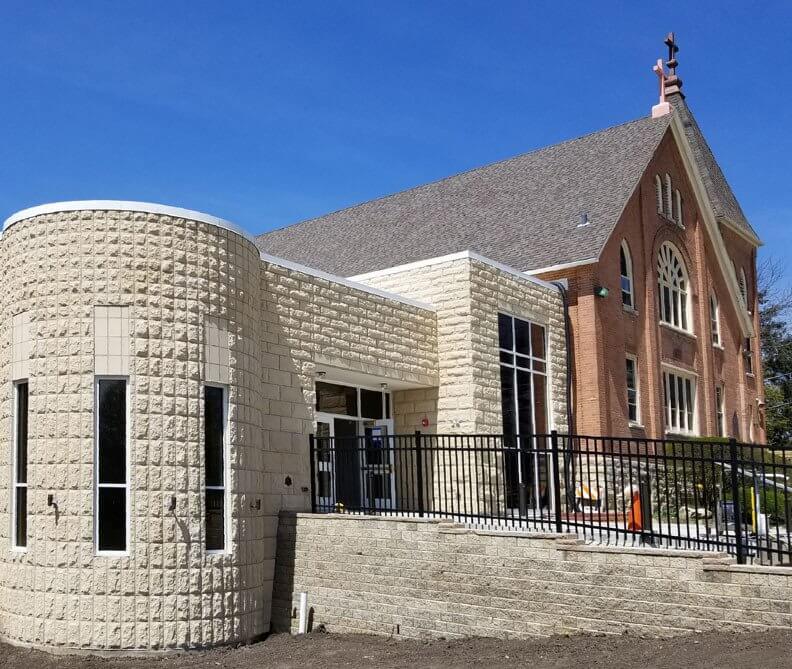 brick stone church restoration design
