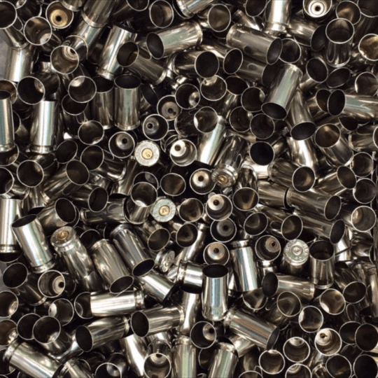 Polished nickel 40 reloading brass