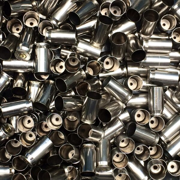 Polished once fired nickel 45 acp brass