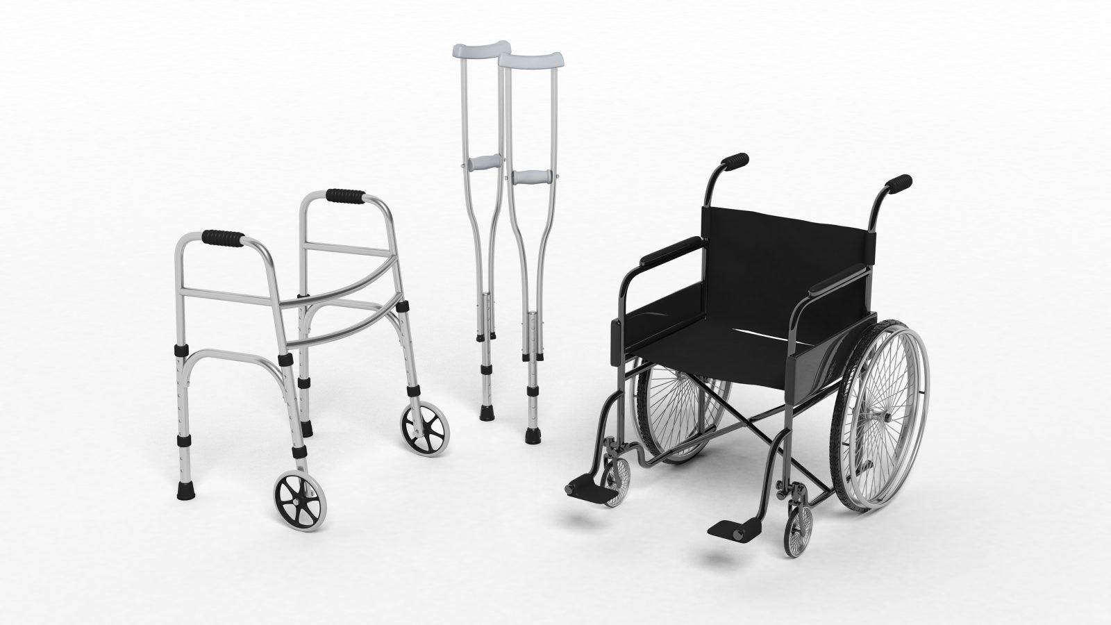 Black disability wheelchair, crutch and metallic walker