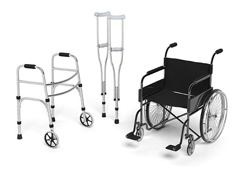 Black disability wheelchair, crutch and metallic walker