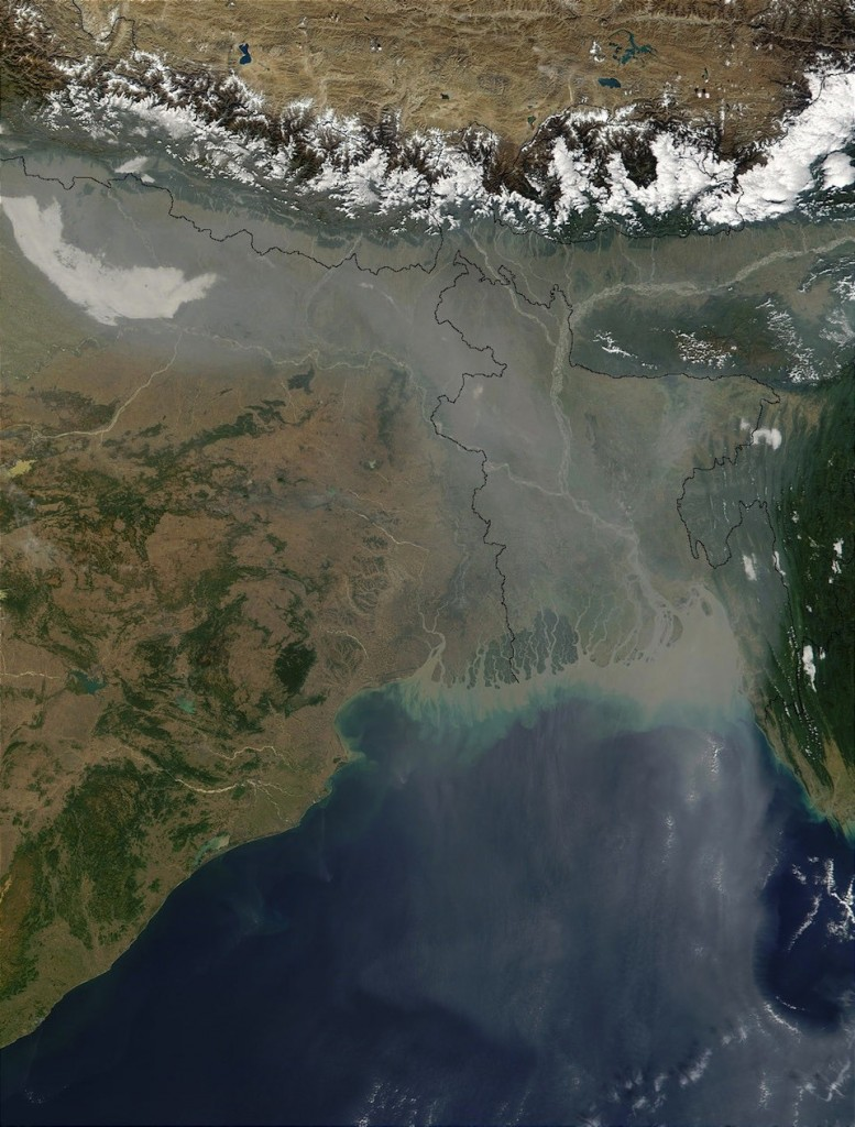 Contaminación por aerosol en India y Bangladesh, Jacques Descloitres, MODIS Land Rapid Response Team, NASA:GSFC