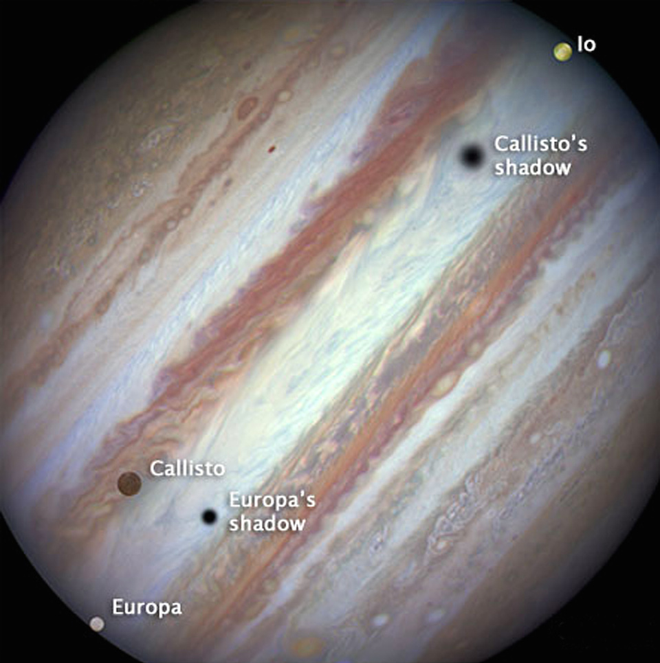 Júpiter y tres de sus lunas- NASA, ESA, and the Hubble Heritage Team (STScI_AURA)