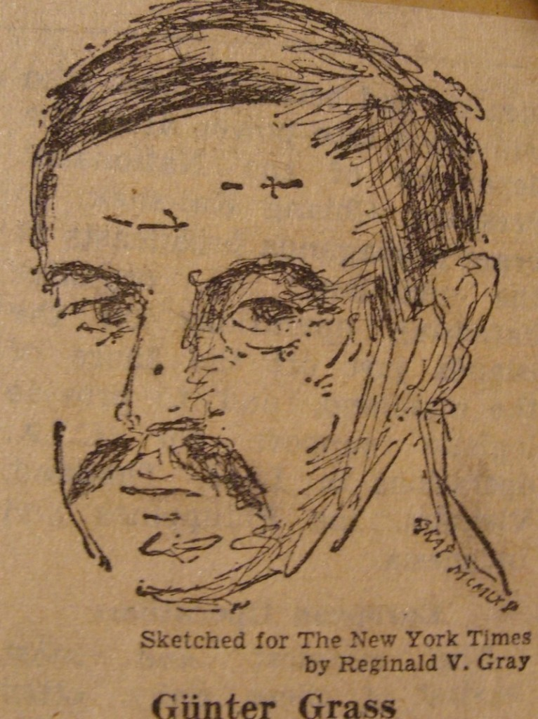 Günter Grass- dibujo de Reginald Gray, publicado en The New York Times, 1965