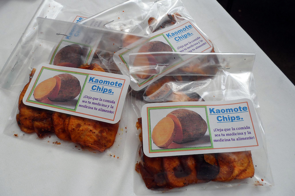 Kaomote chips, productos de harina de camote