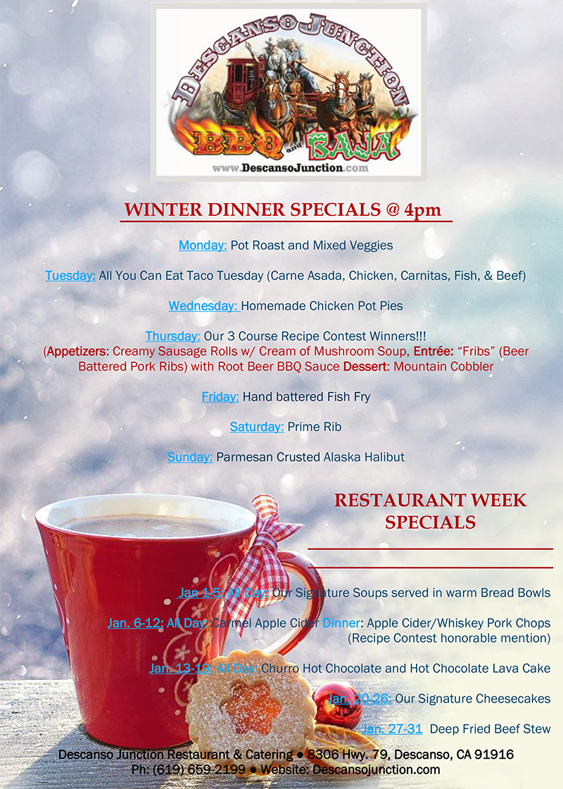 Winter Dinner Specials at Descanso Junction