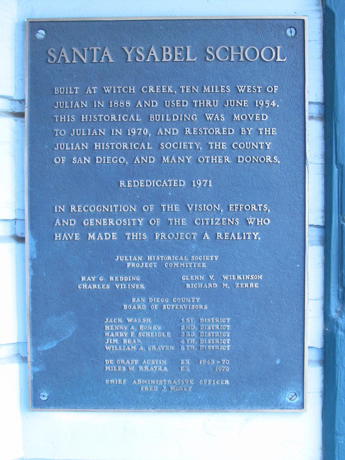Julian Historical Society Santa Ysabel School Sign