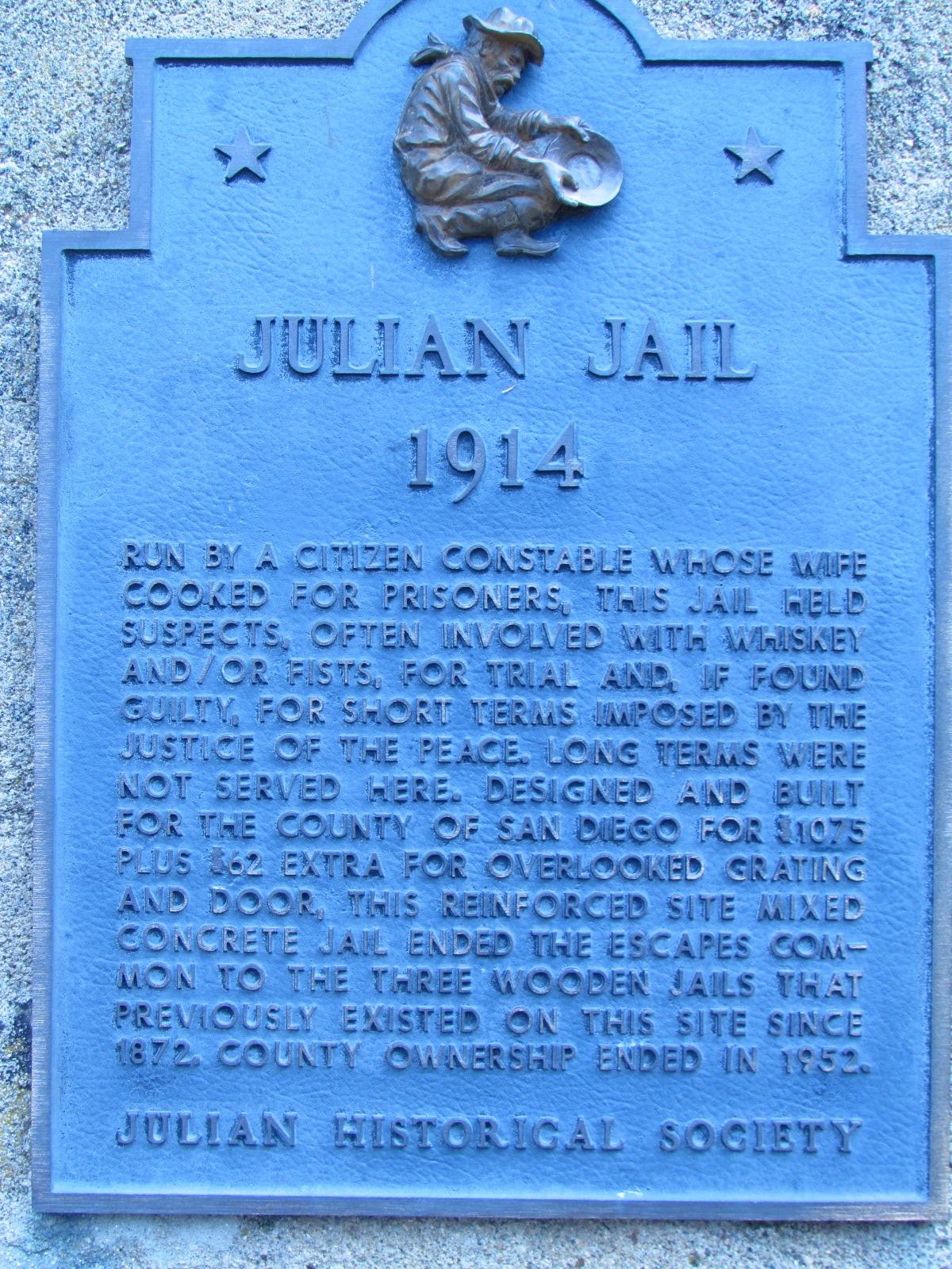 Julian Historical Society Julian Jail Sign