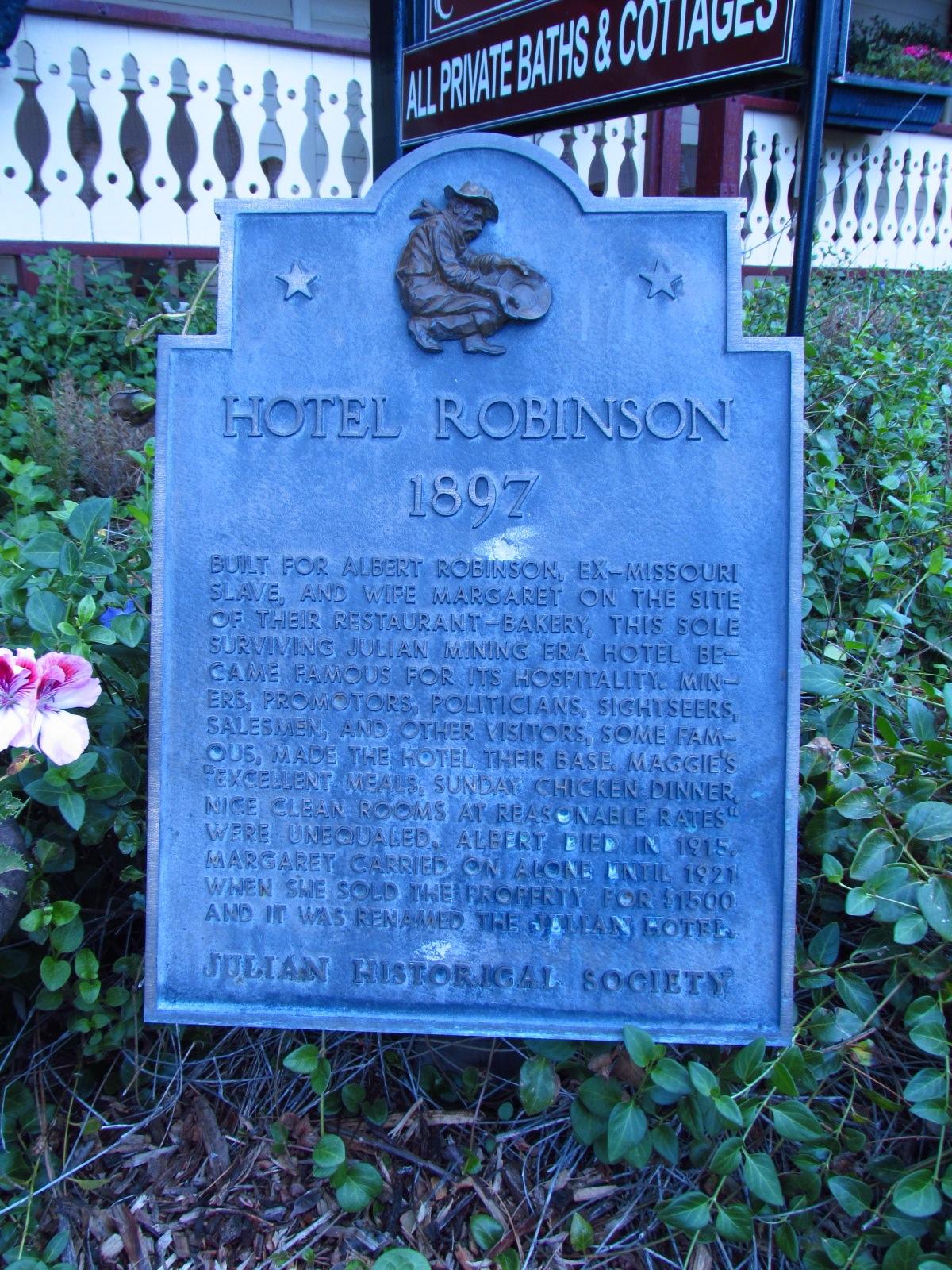 Julian Historical Society Hotel Robinson Sign