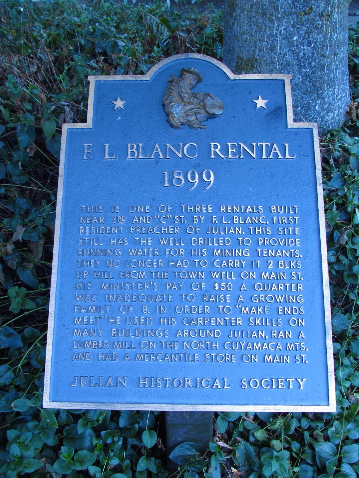 Julian Historical Society F.L. Blanc Rental Sign