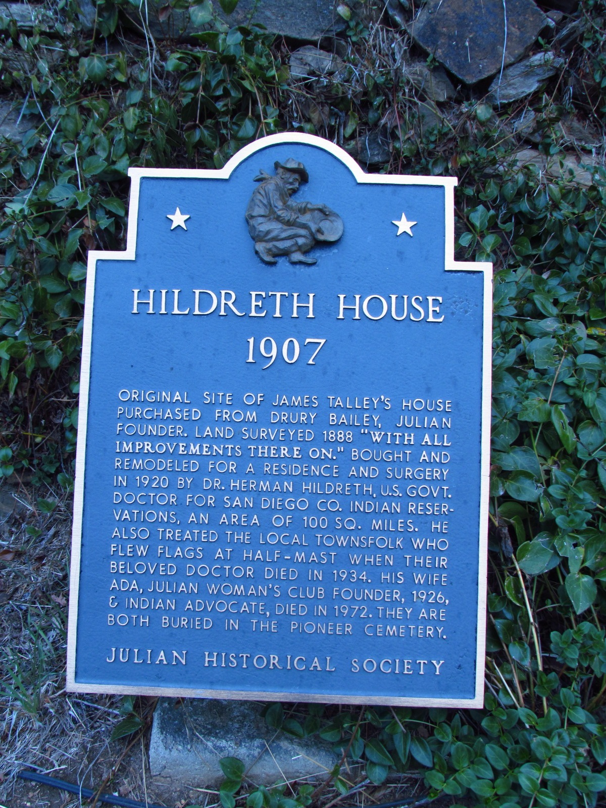 Julian Historical Society Hildreth House Sign