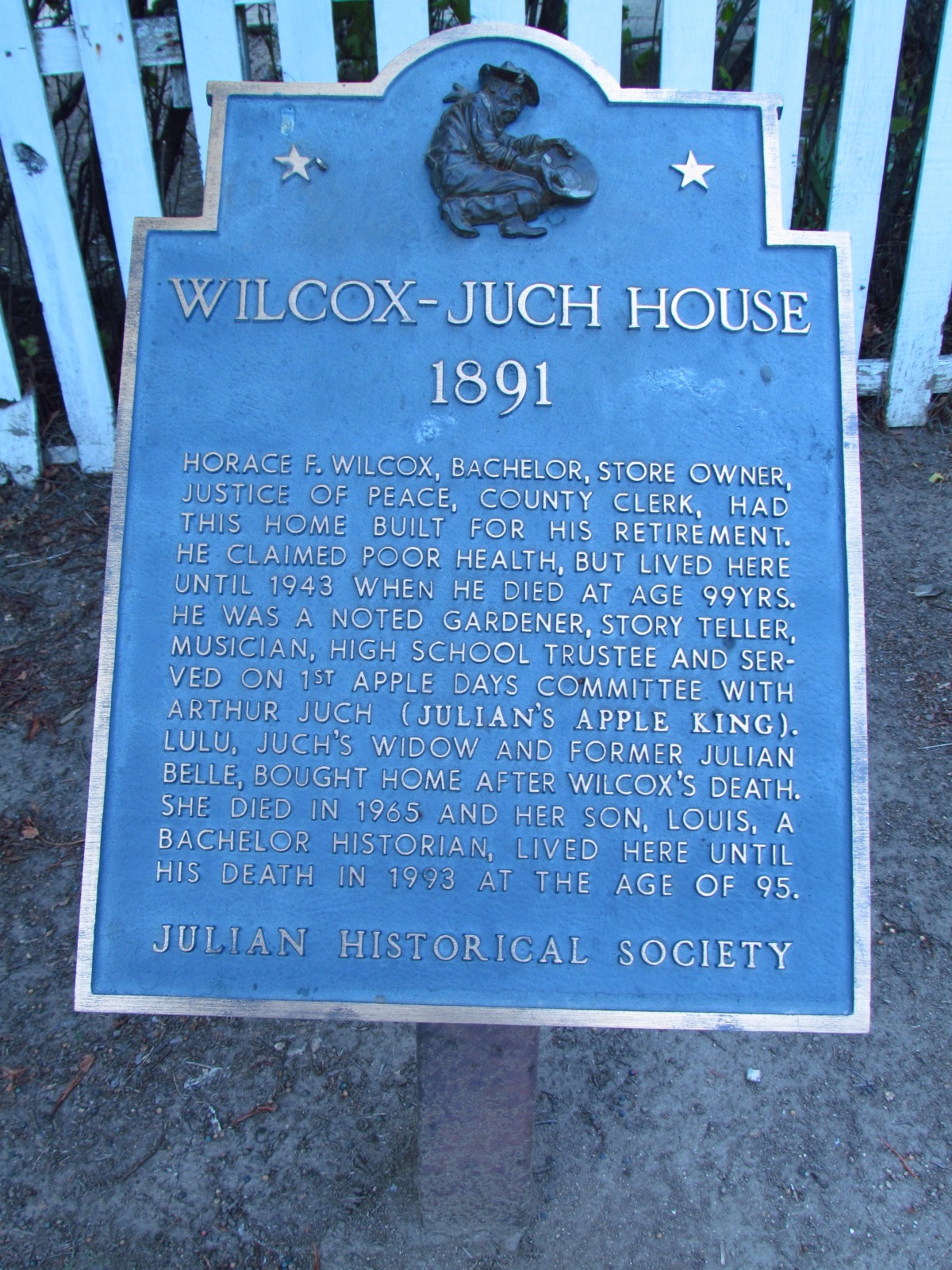 Julian Historical Society Wilcox Juch House Sign