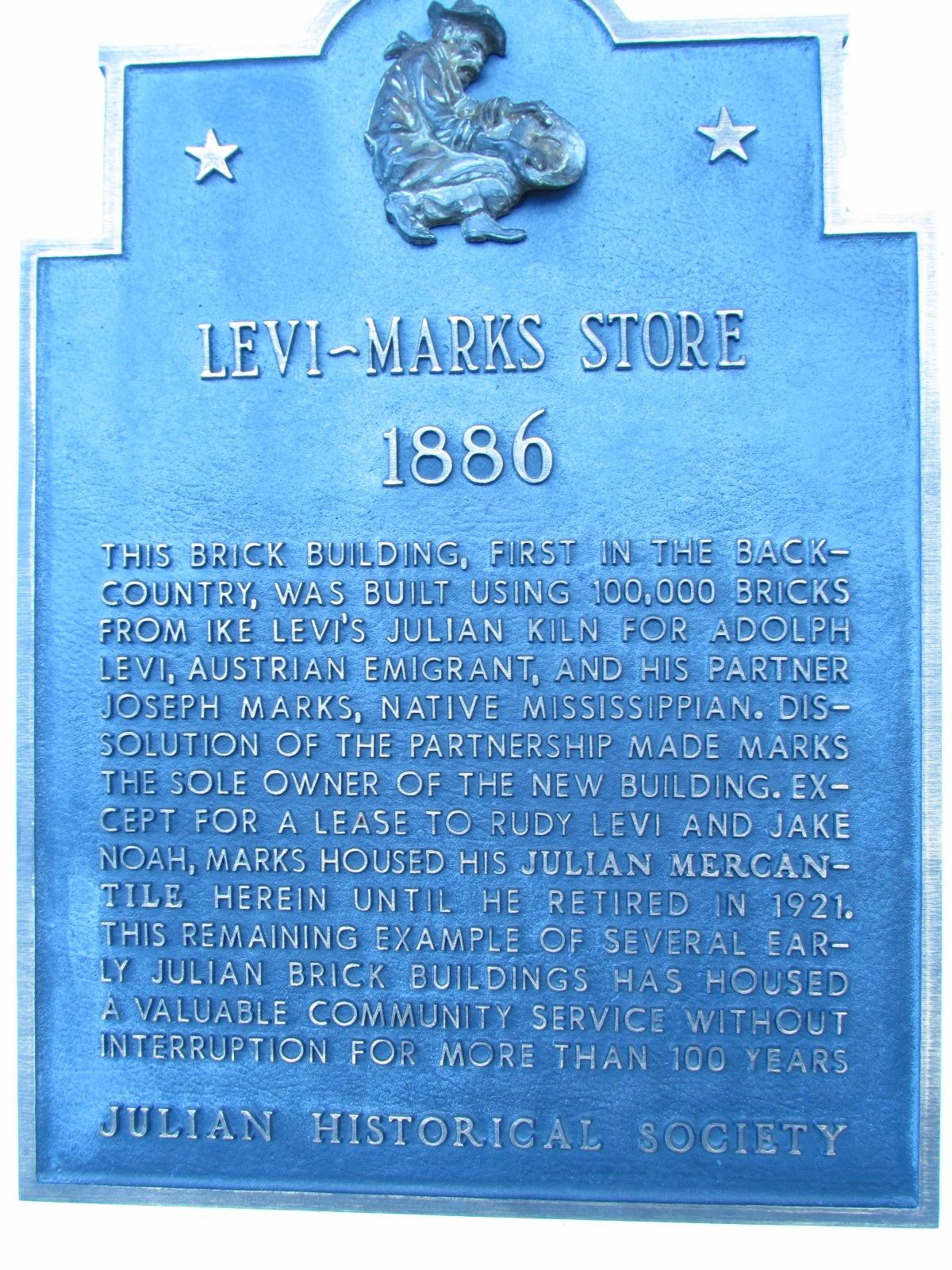 Julian Historical Society Levi Marks Store Sign
