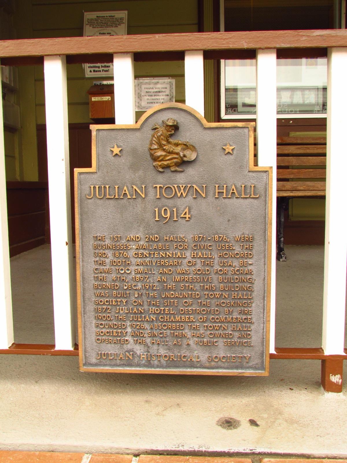 Julian Historical Society Julian Town Hall Sign