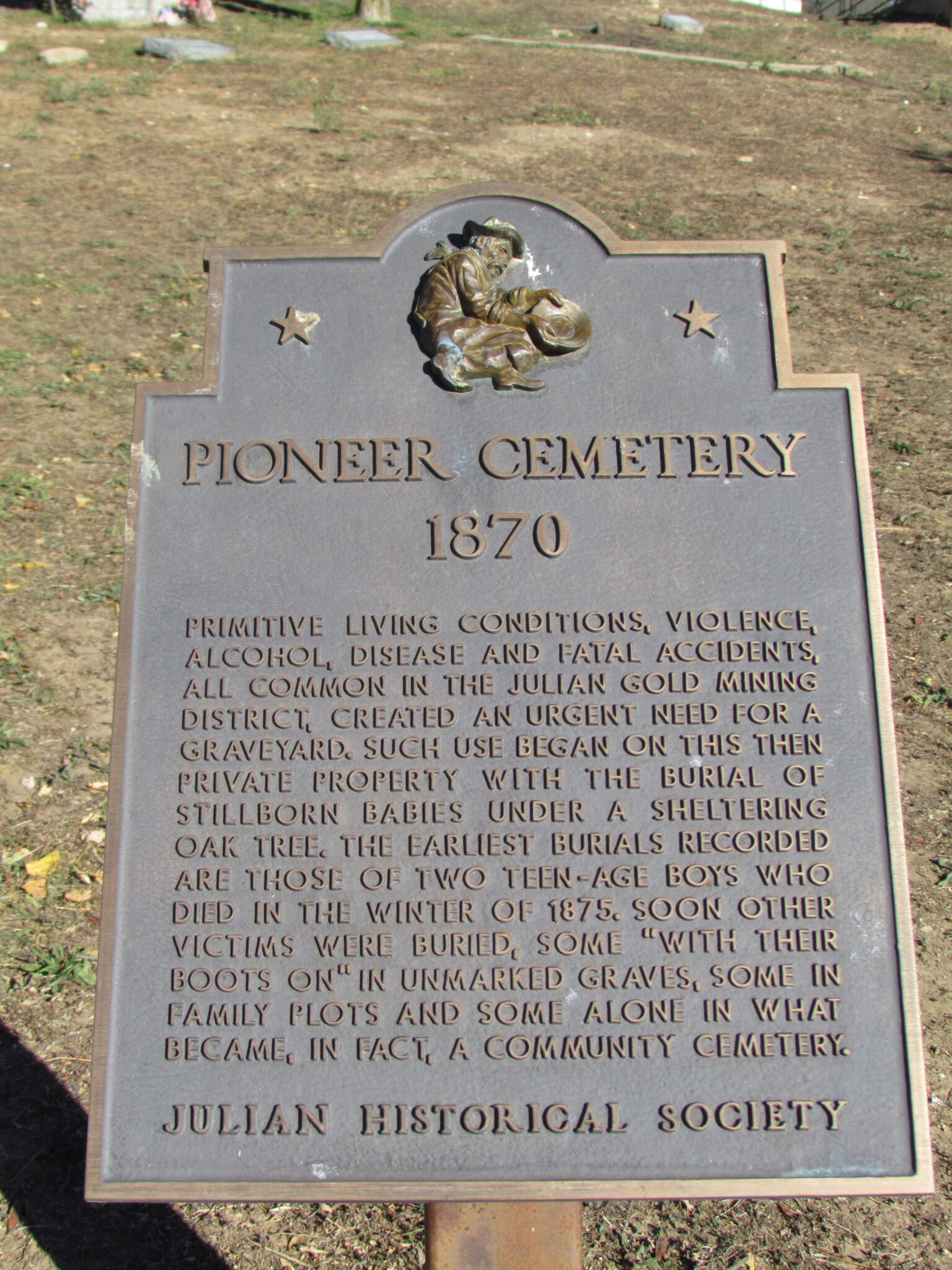 Julian Historical Society Pioneer Cemetery Sign