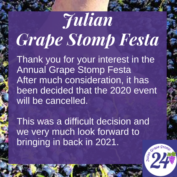 Grape Stomp 2020 has been cancelled