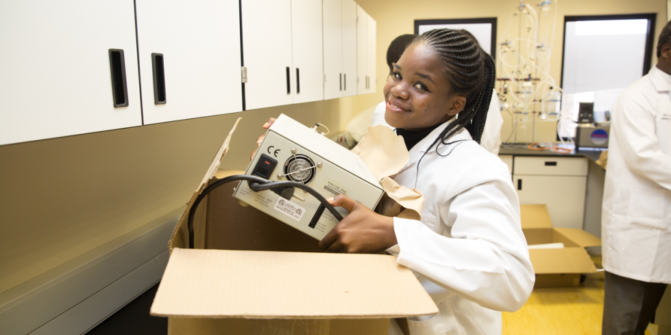 Student unpacking at the University of Namibia