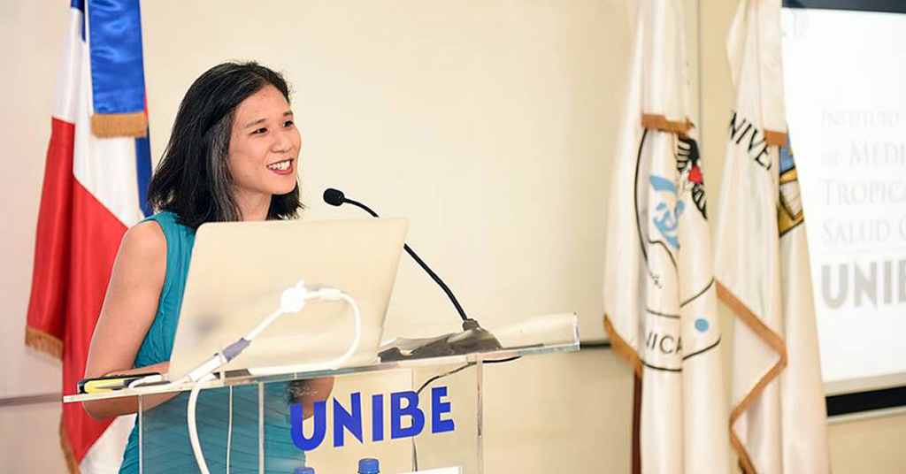 Seeding Labs Global Partnerships Manager Melissa Wu delivering remarks at the Institute's inauguration.