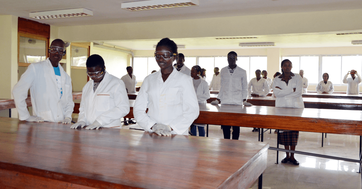 Students work in the lab at Karatina University