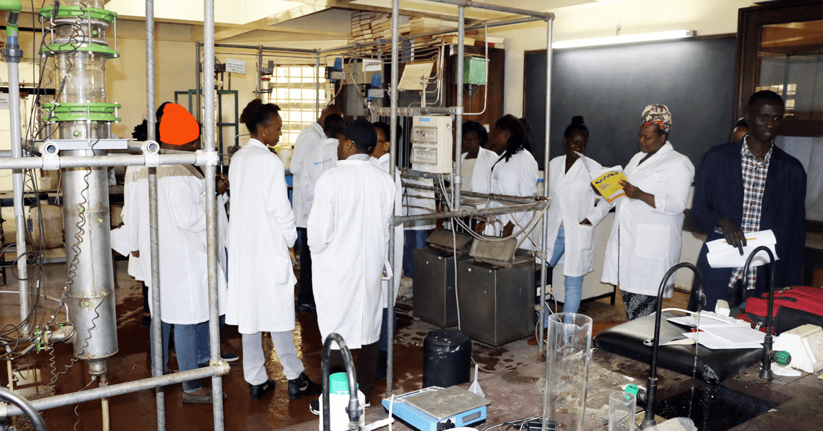 Students in the lab at Moi University