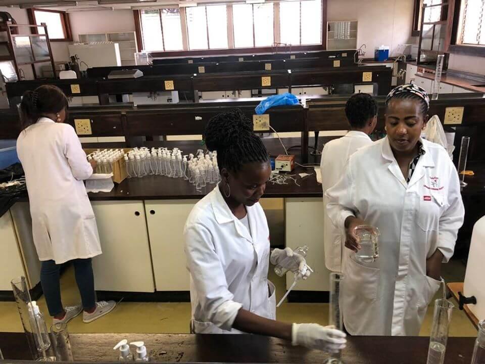 Uneswa producing hand sanitizer