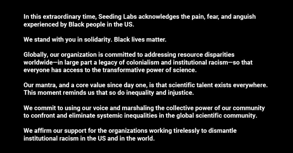 Affirming our support for Black lives