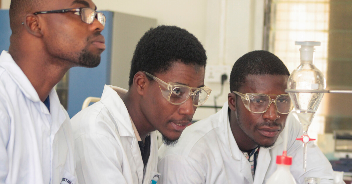 A section of undergraduate students undertaking extraction experiment
