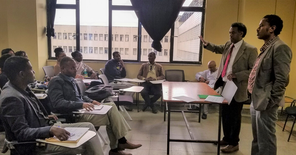 Dr. Abebaw F(Head CDT-Africa) and Dr. Tsegahun M (Scientific Coordinator) addressing 1st year MSc clinical trails students