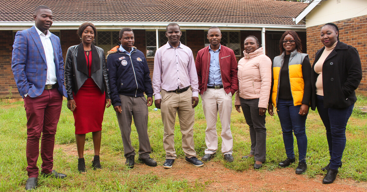from left Mr Vitalis Chitsa,Miss Maureen Gumbo,Mr Isaac Mambanda,Dr Fidelis Chigondo,Dr Gift Mehlana,Dr Edith Dube,Mrs Ngceboyakwethu Zinyama,Ms Tafadzwa Murinzi