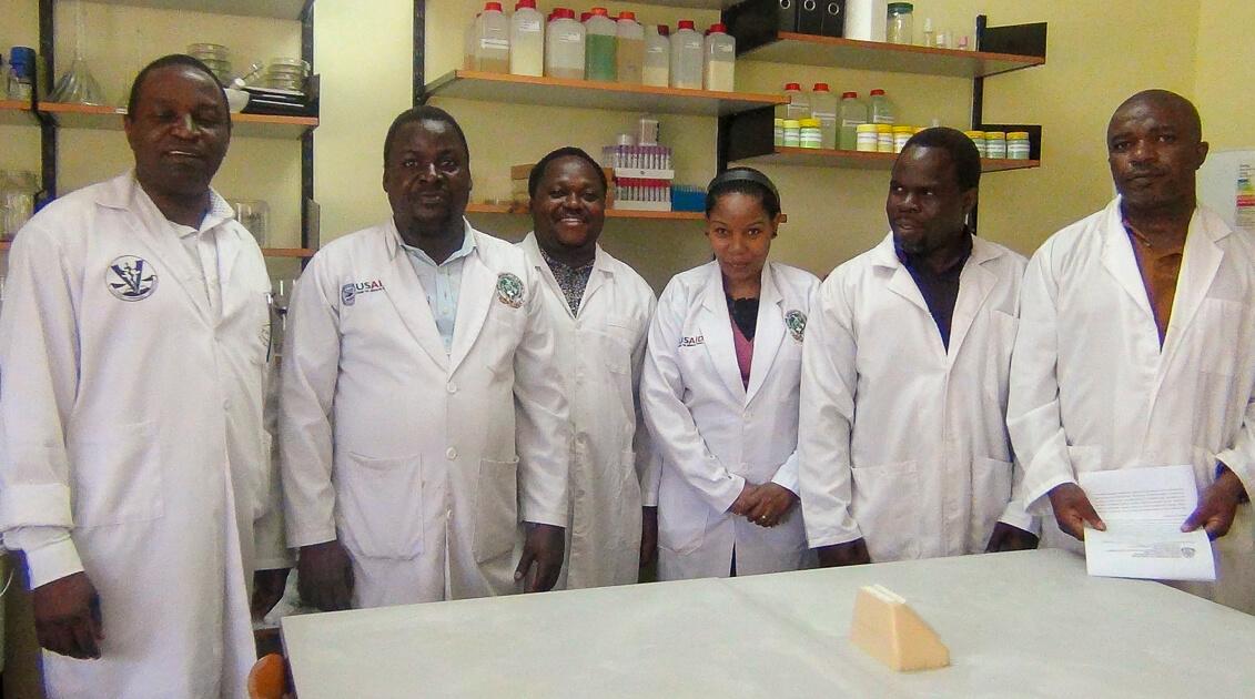 Laboratory users - From left: Prof Robert Max, Mr Ignatus Kiiza, Dr. Benigni Temba, Dr. Frida Mgonja, Dr. Shaban Mshamu, Dr. Lusekelo Mwangengwa
