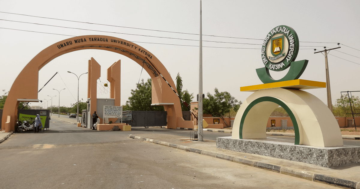 The main gate of Umaru Musa Yar'adua University in Katsina, Nigeria