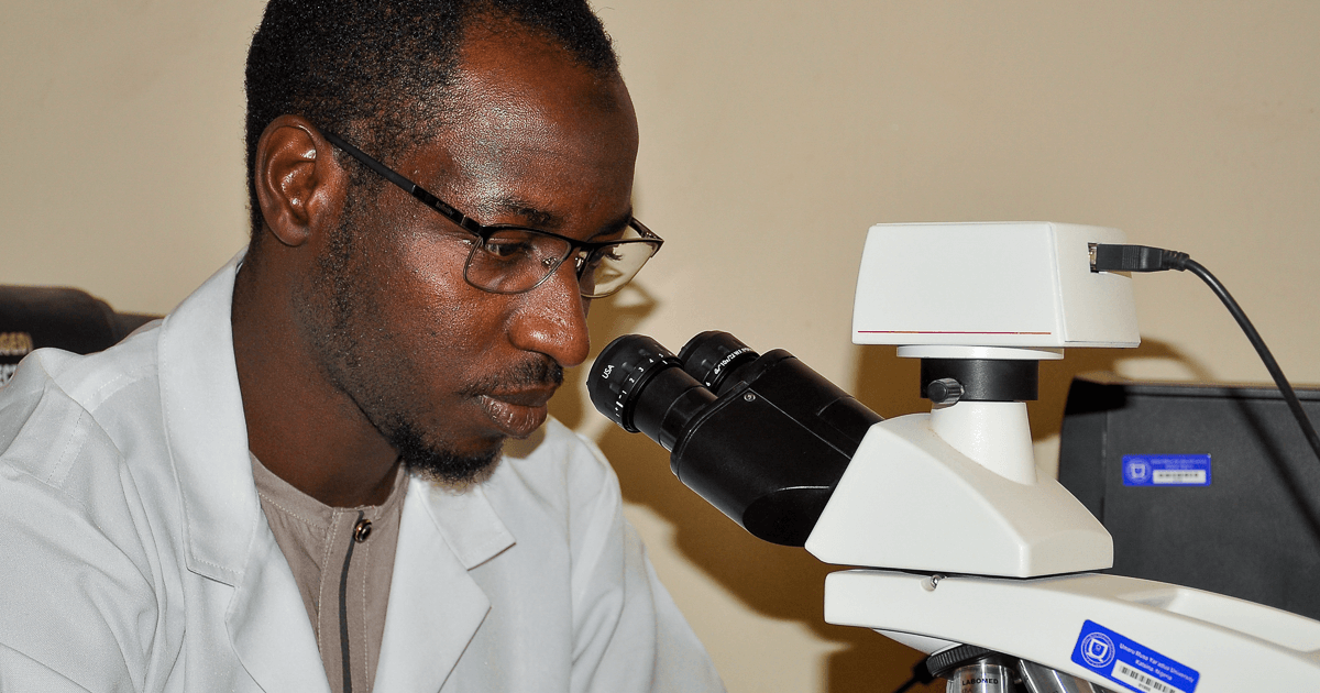 Dr MB Isah in the lab at UMYU