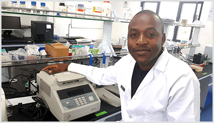Dr. Gama Bandawe in his lab at the Malawi University of Science and Techology