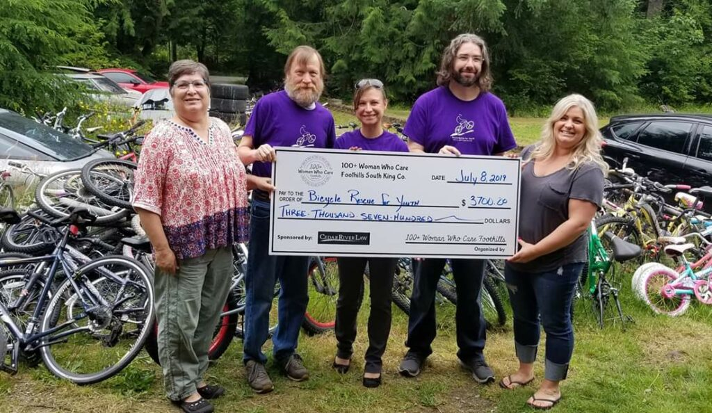 At the location of Bicycle Rescue For Youth.  We presented a check for $3700, an additional $100 was collected after the presentation totalling $3800.