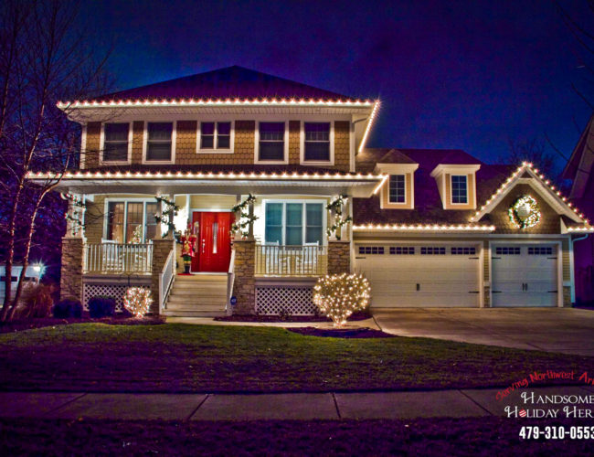 Modern Home With Christmas Lights By Handsome Holiday Heroes