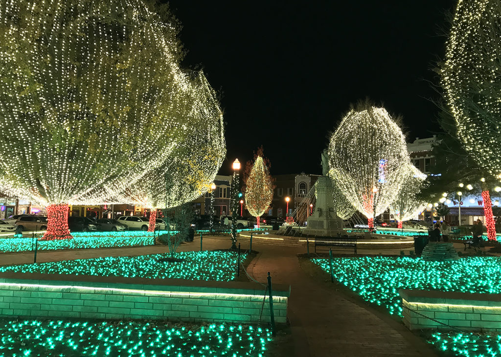 christmas lights in downtown Bentonville Square