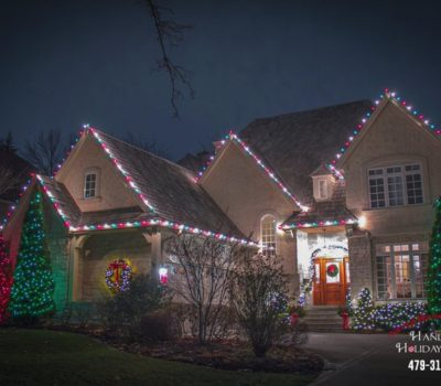 House With Christmas Lights At Night In Fayetteville Arkansas