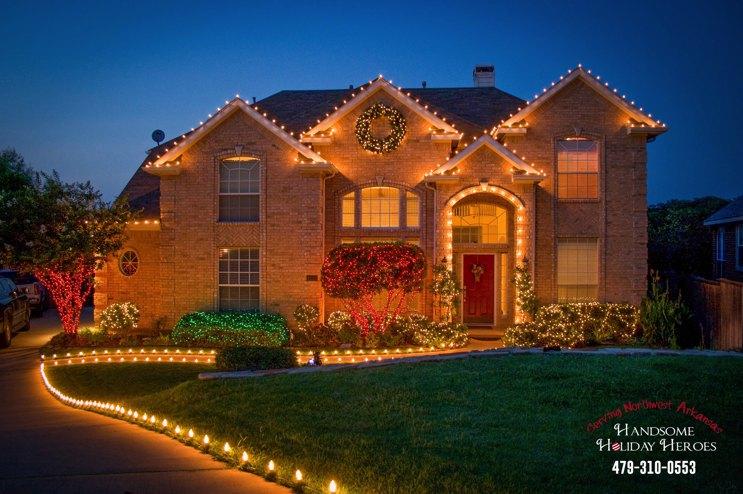 LED yard lighting on house in Fayetteville Arkansas