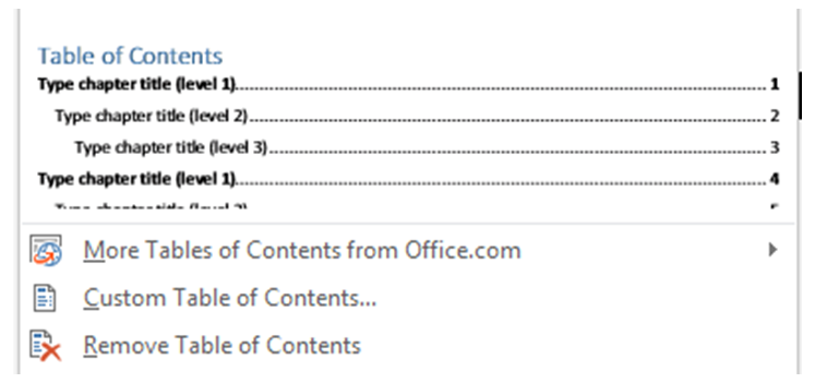Word Table of Contents 2