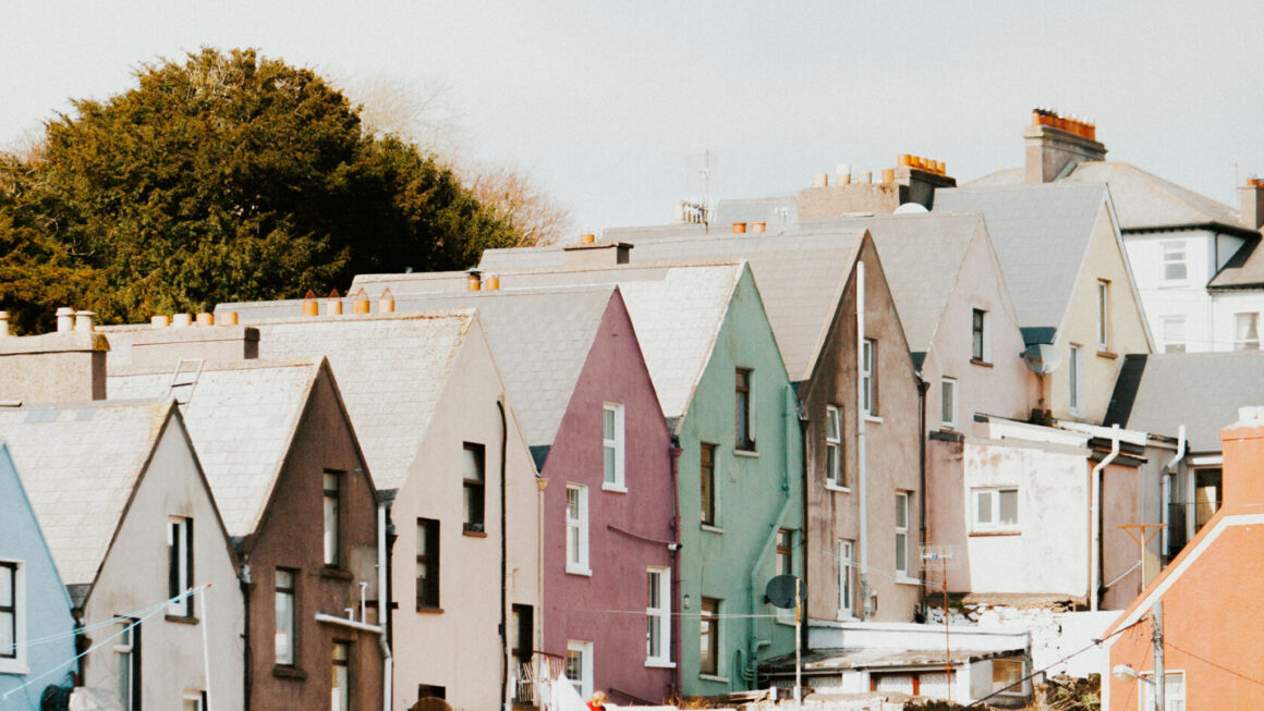 Colorful row houses built on hill