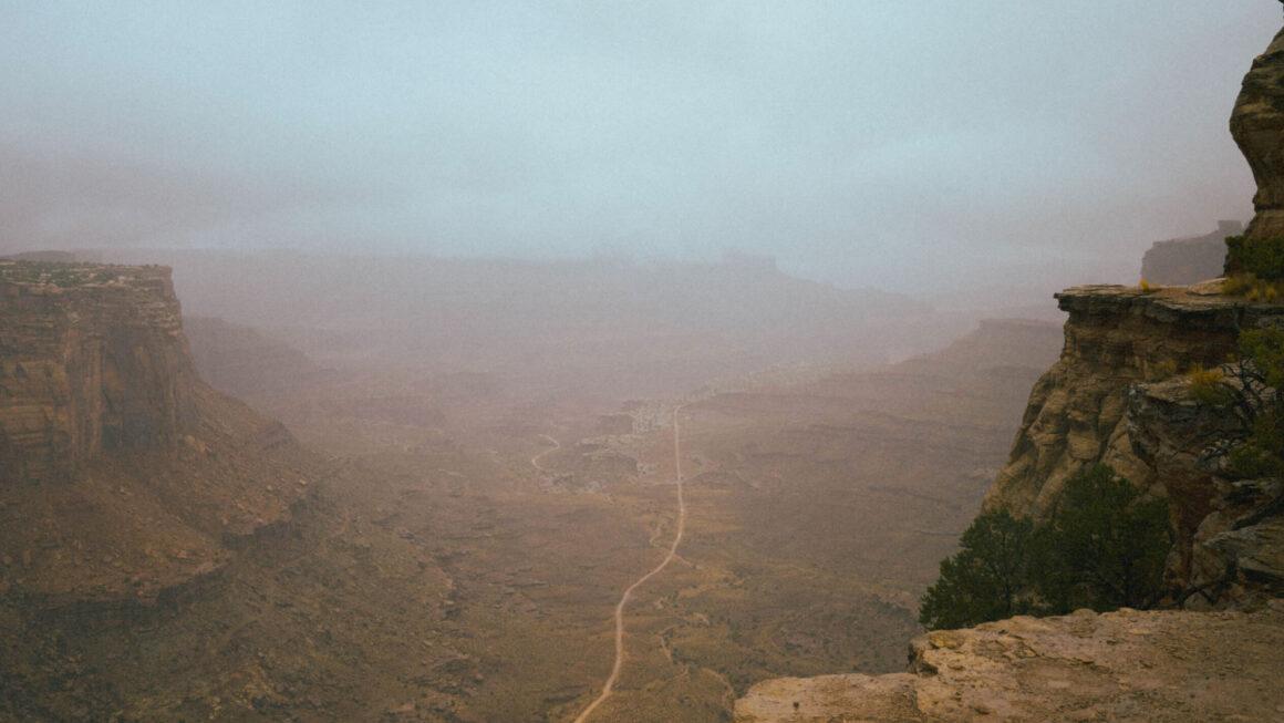 Long road through dry canyon